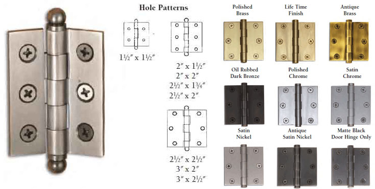 High Quality 3 Inch X 2 Inch Cabinet Butt Hinge (each) W/Ball Finial For Your Cabinetry,  We Offer The Same Superior Quality And Selection ...